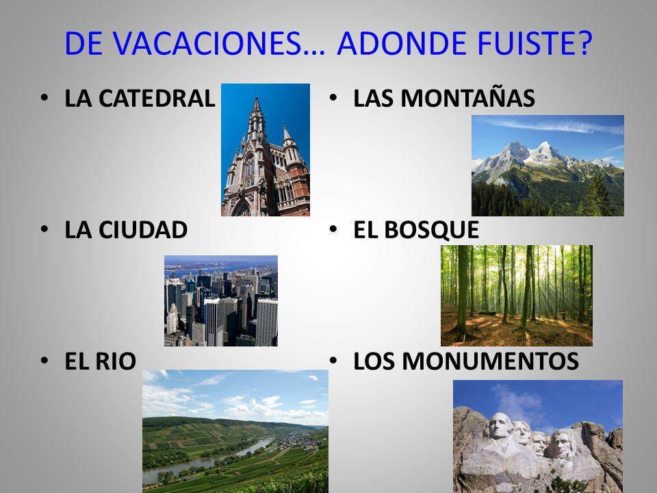 DE VACACIONES… ADONDE FUISTE. FUI A ____. VIAJE A ____.