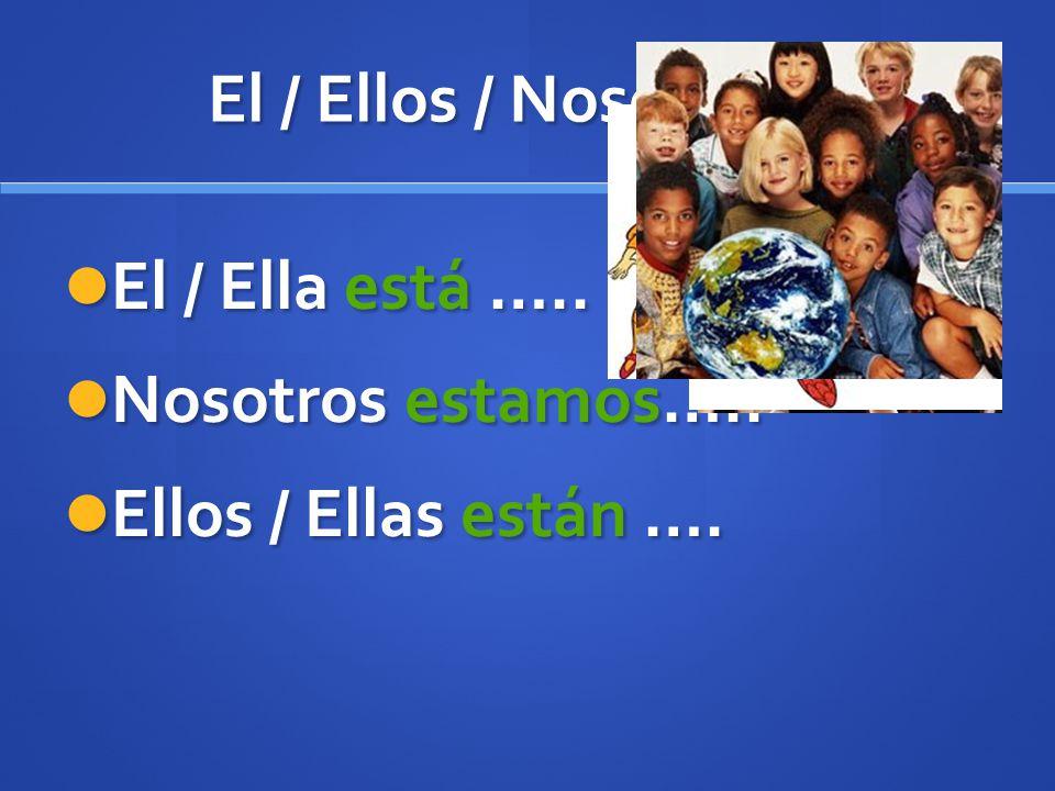 El / Ellos / Nosotros… El / Ella está ….. Nosotros estamos….. Ellos / Ellas están ….