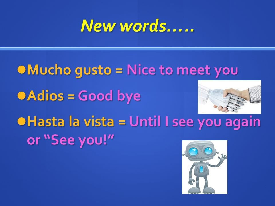 Mucho gusto = Nice to meet you Adios = Good bye Hasta la vista = Until I see you again or See you! New words…..