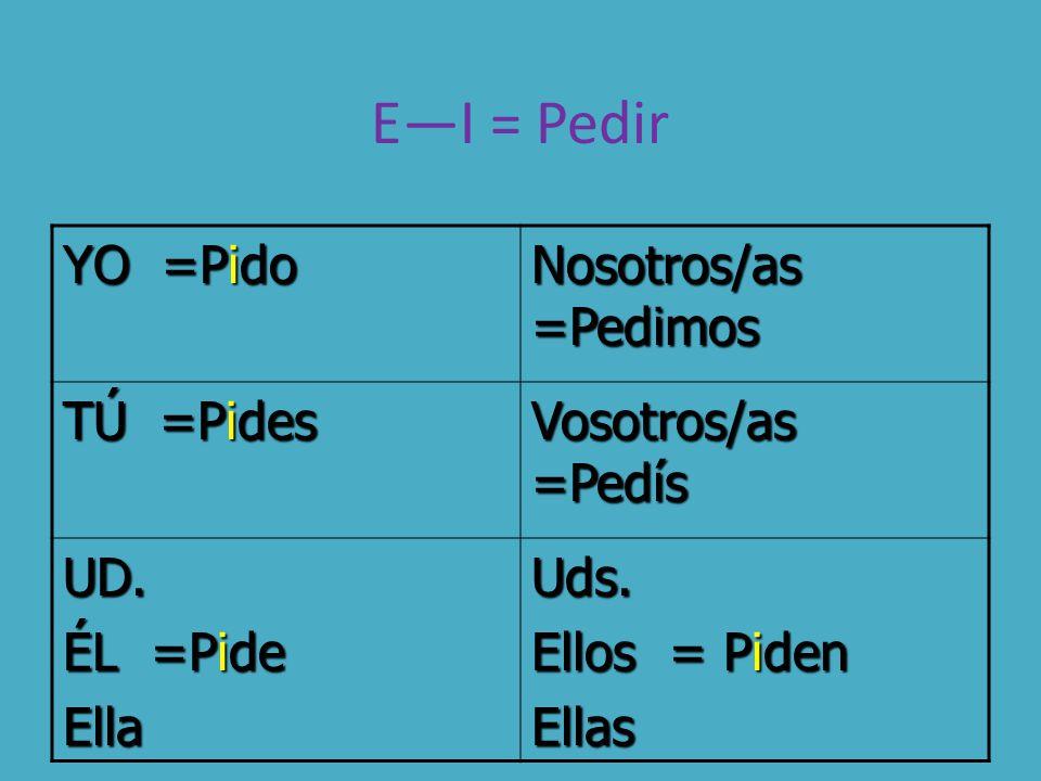 E—I = Pedir YO =Pido Nosotros/as =Pedimos TÚ =Pides Vosotros/as =Pedís UD.