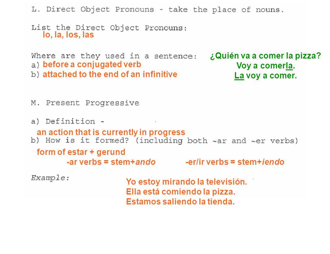 lo, la, los, las before a conjugated verb attached to the end of an infinitive ¿Quién va a comer la pizza.