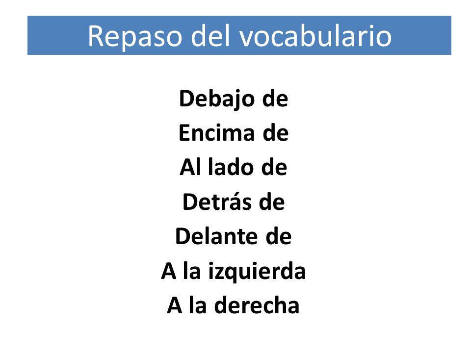 Repaso del vocabulario Debajo de Encima de Al lado de Detrás de Delante de A la izquierda A la derecha