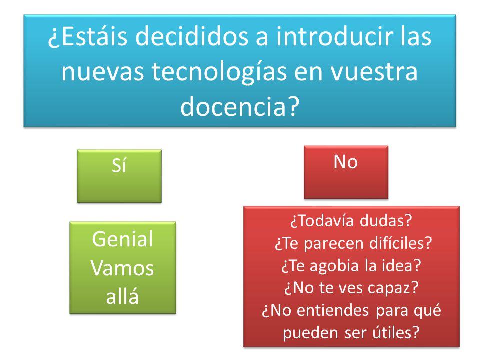 ¿Estáis decididos a introducir las nuevas tecnologías en vuestra docencia.