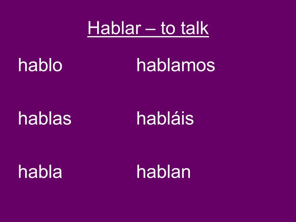 Hablar – to talk hablohablamos hablashabláis hablahablan