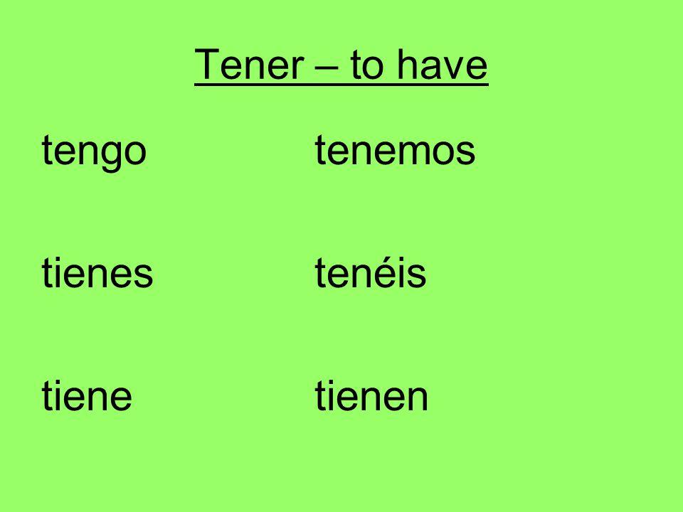 Tener – to have tengotenemos tienestenéis tienetienen