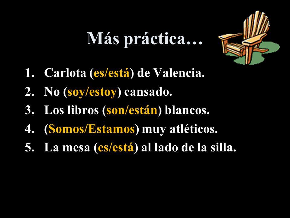 ¡Vamos a practicar. 1.Malena está en Madrid. 2.Mucha ropa está en el suelo.