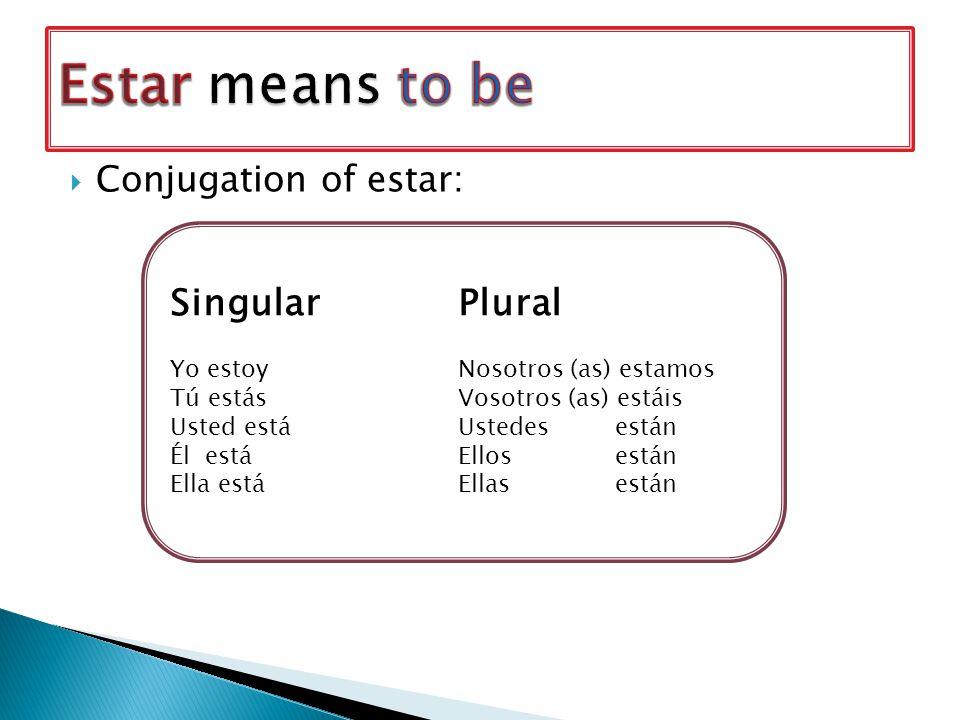  Conjugation of estar: SingularPlural Yo estoyNosotros (as) estamos Tú estásVosotros (as) estáis Usted estáUstedes están Él estáEllos están Ella estáEllas están