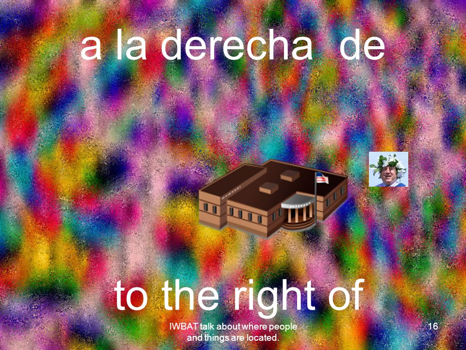 a la derecha de 16 to the right of IWBAT talk about where people and things are located.