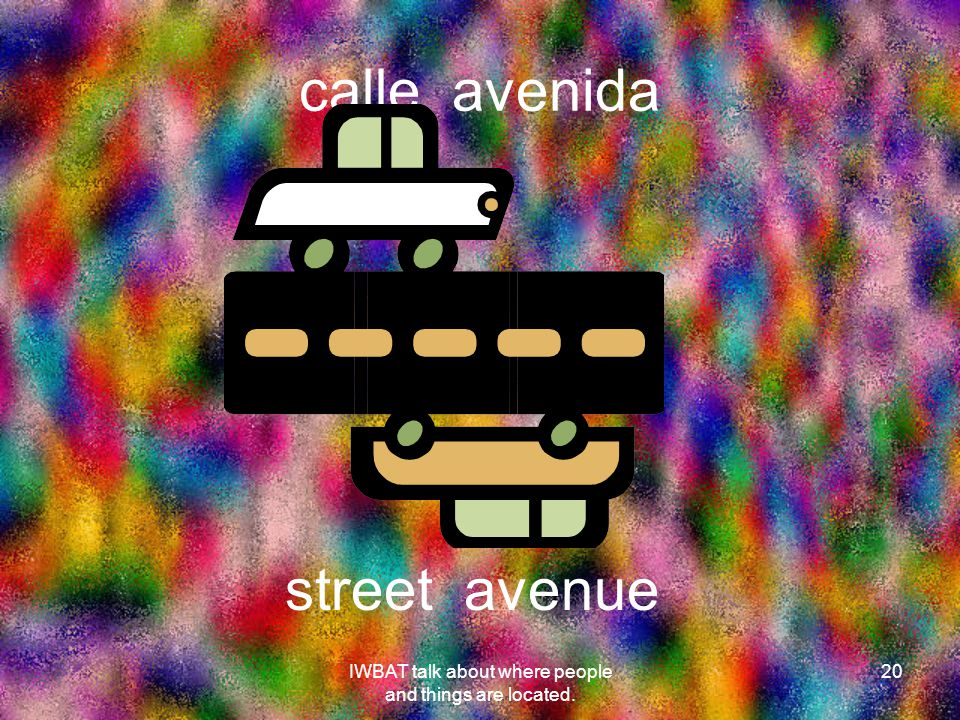 calle avenida 20 street avenue IWBAT talk about where people and things are located.