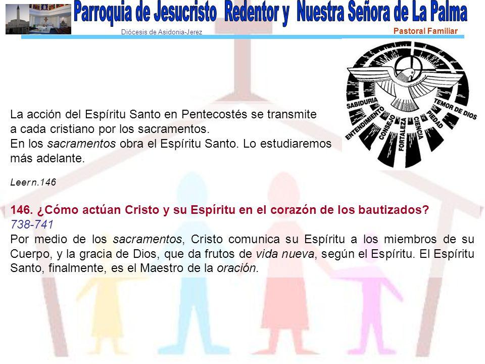 Diócesis de Asidonia-Jerez Pastoral Familiar La acción del Espíritu Santo en Pentecostés se transmite a cada cristiano por los sacramentos.