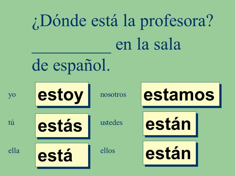 ¿Dónde está la profesora. _________ en la sala de español.