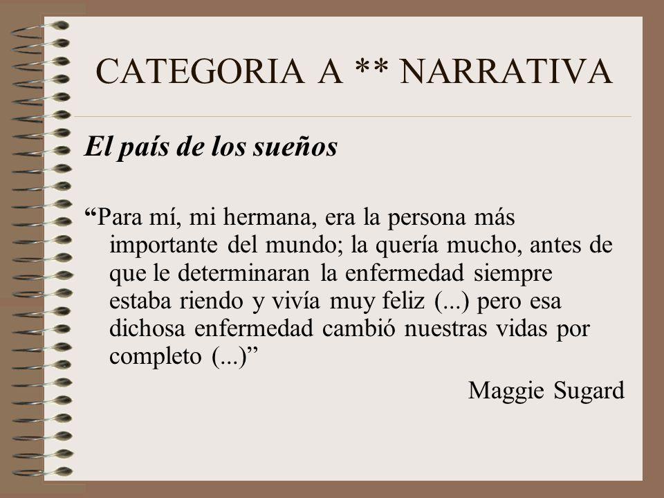 CATEGORIA A ** NARRATIVA El país de los sueños Para mí, mi hermana, era la persona más importante del mundo; la quería mucho, antes de que le determinaran la enfermedad siempre estaba riendo y vivía muy feliz (...) pero esa dichosa enfermedad cambió nuestras vidas por completo (...) Maggie Sugard