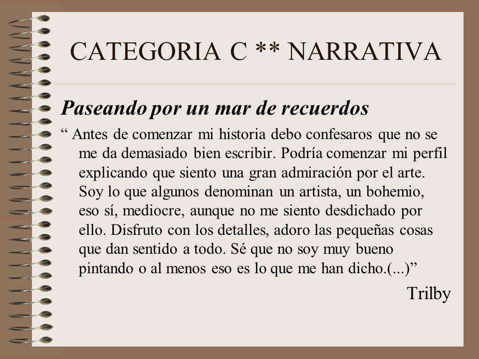 CATEGORIA C ** NARRATIVA Paseando por un mar de recuerdos Antes de comenzar mi historia debo confesaros que no se me da demasiado bien escribir.