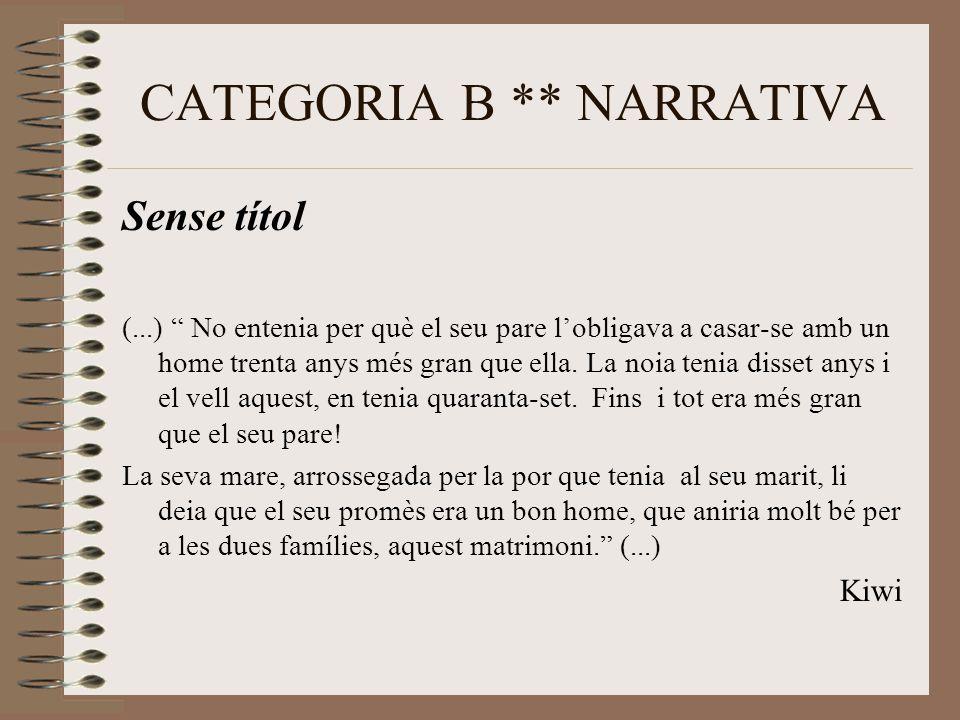 CATEGORIA B ** NARRATIVA Sense títol (...) No entenia per què el seu pare l'obligava a casar-se amb un home trenta anys més gran que ella.