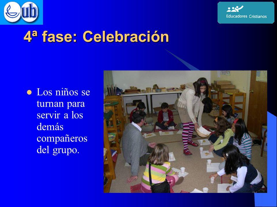 4ª fase: Celebración Los niños se turnan para servir a los demás compañeros del grupo.