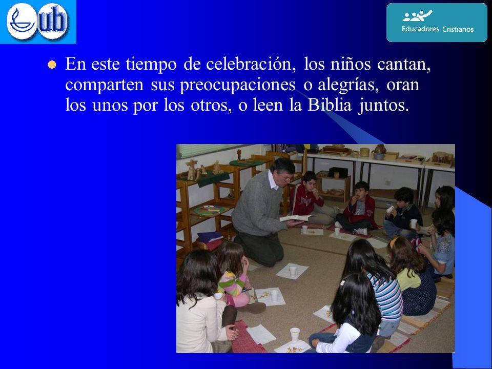 En este tiempo de celebración, los niños cantan, comparten sus preocupaciones o alegrías, oran los unos por los otros, o leen la Biblia juntos.