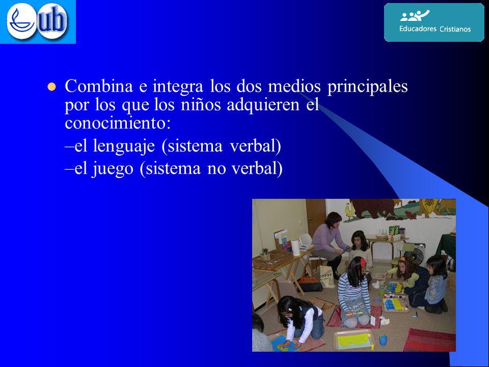 Combina e integra los dos medios principales por los que los niños adquieren el conocimiento: –el lenguaje (sistema verbal) –el juego (sistema no verbal)