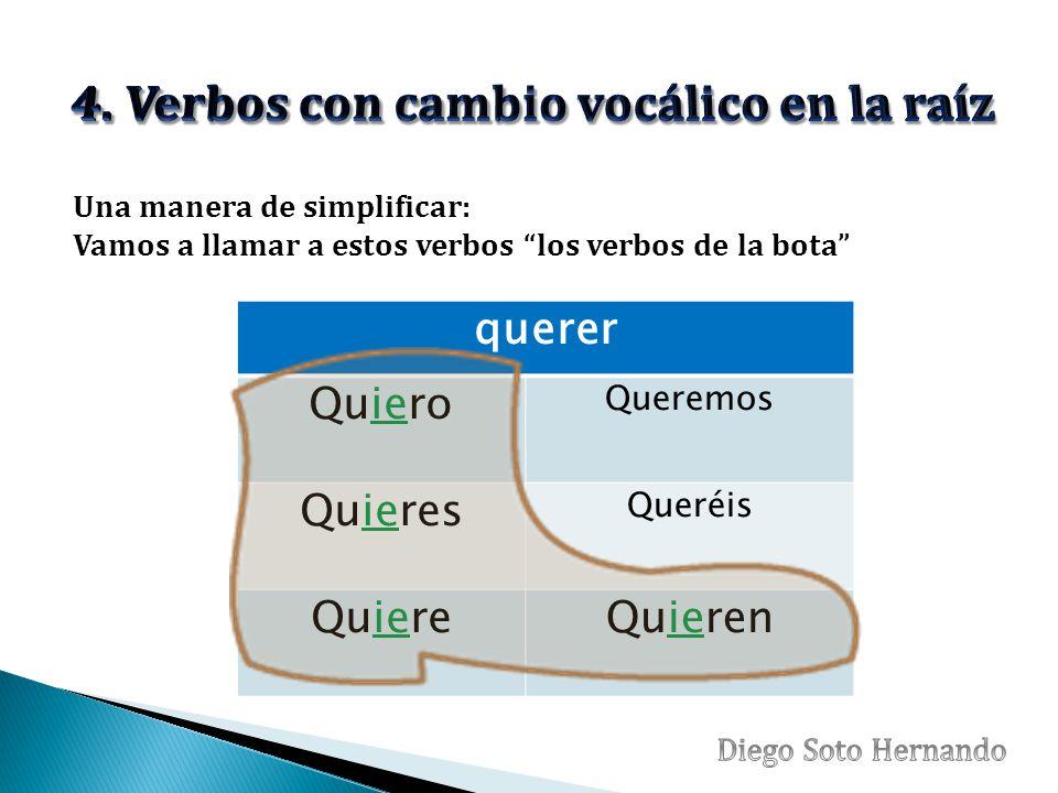 querer Quiero Queremos Quieres Queréis QuiereQuieren Una manera de simplificar: Vamos a llamar a estos verbos los verbos de la bota
