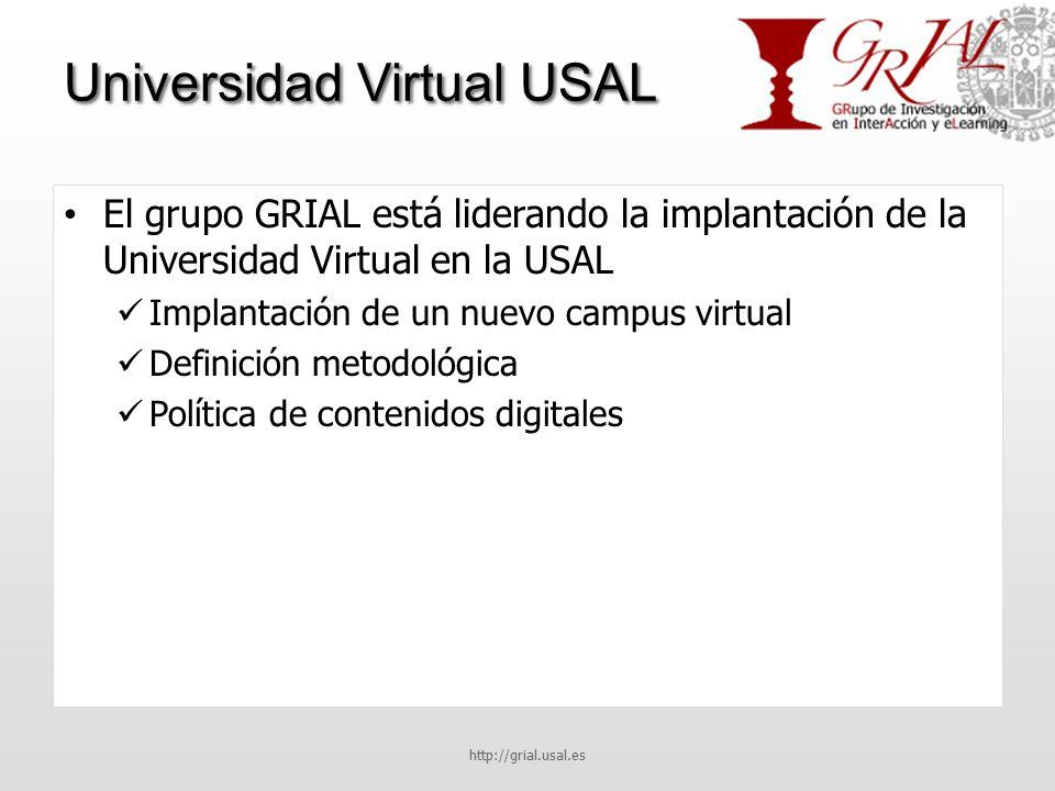 Universidad Virtual USAL El grupo GRIAL está liderando la implantación de la Universidad Virtual en la USAL Implantación de un nuevo campus virtual Definición metodológica Política de contenidos digitales http://grial.usal.es