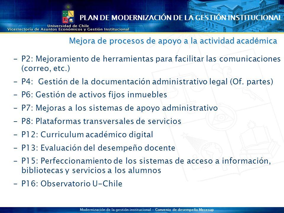 Modernización de la gestión institucional - Convenio de desempeño Mecesup  P2: Mejoramiento de herramientas para facilitar las comunicaciones (correo, etc.)  P4: Gestión de la documentación administrativo legal (Of.