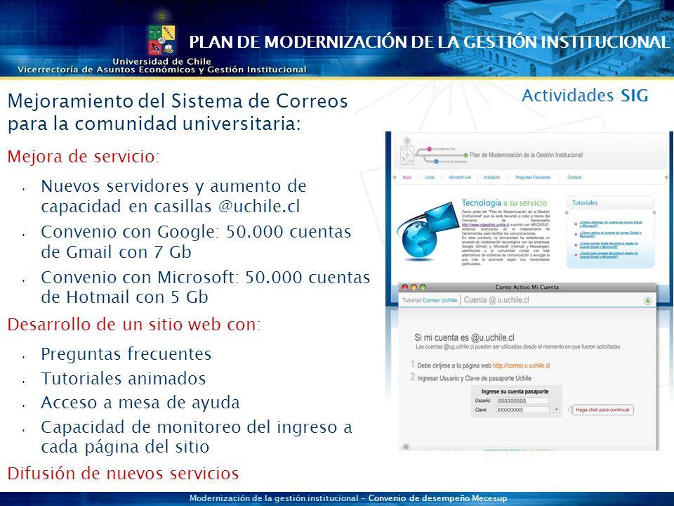 Modernización de la gestión institucional - Convenio de desempeño Mecesup Actividades SIG Mejoramiento del Sistema de Correos para la comunidad universitaria: Mejora de servicio: Nuevos servidores y aumento de capacidad en casillas @uchile.cl Convenio con Google: 50.000 cuentas de Gmail con 7 Gb Convenio con Microsoft: 50.000 cuentas de Hotmail con 5 Gb Desarrollo de un sitio web con: Preguntas frecuentes Tutoriales animados Acceso a mesa de ayuda Capacidad de monitoreo del ingreso a cada página del sitio Difusión de nuevos servicios PLAN DE MODERNIZACIÓN DE LA GESTIÓN INSTITUCIONAL