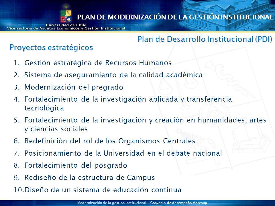 Modernización de la gestión institucional - Convenio de desempeño Mecesup 1.