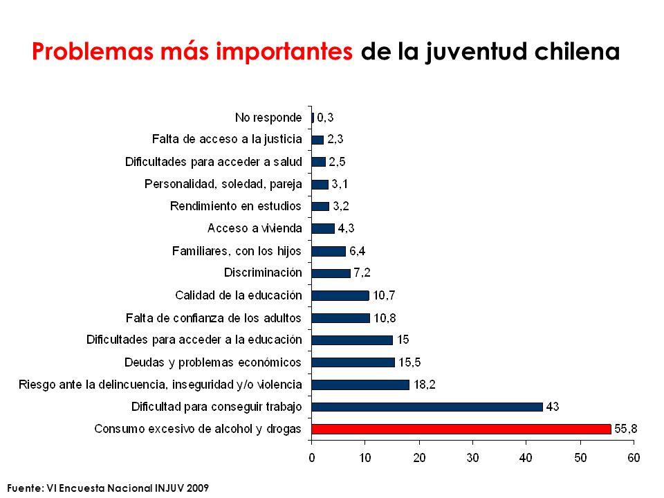 Problemas más importantes de la juventud chilena Fuente: VI Encuesta Nacional INJUV 2009