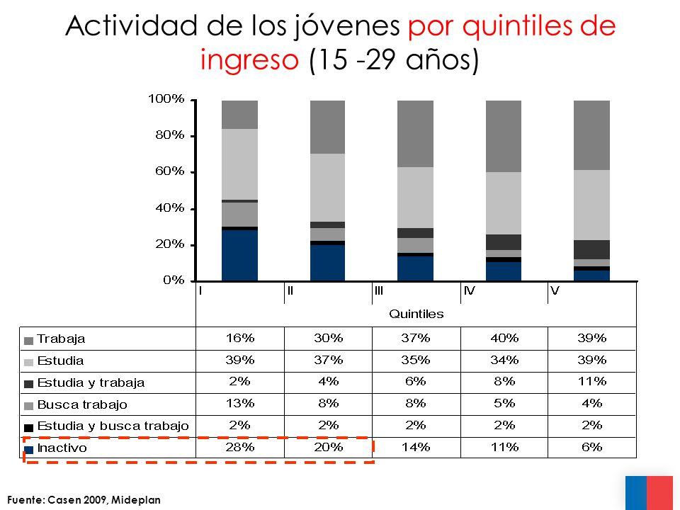 Actividad de los jóvenes por quintiles de ingreso (15 -29 años) Fuente: Casen 2009, Mideplan