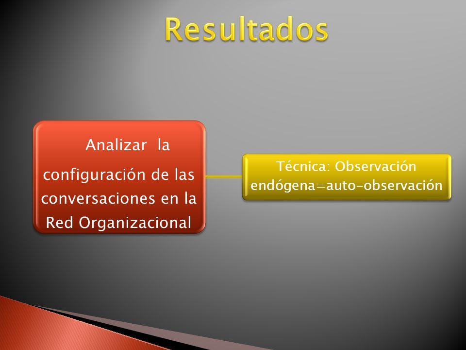 Analizar la configuración de las conversaciones en la Red Organizacional Técnica: Observación endógena=auto-observación