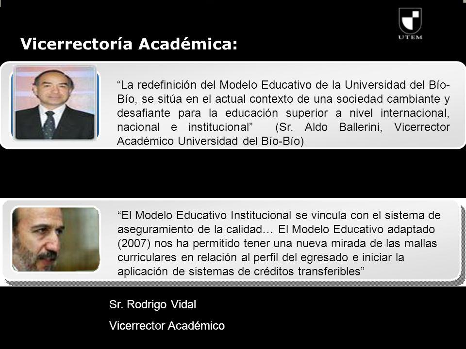 Vicerrectoría Académica: La redefinición del Modelo Educativo de la Universidad del Bío- Bío, se sitúa en el actual contexto de una sociedad cambiante y desafiante para la educación superior a nivel internacional, nacional e institucional (Sr.