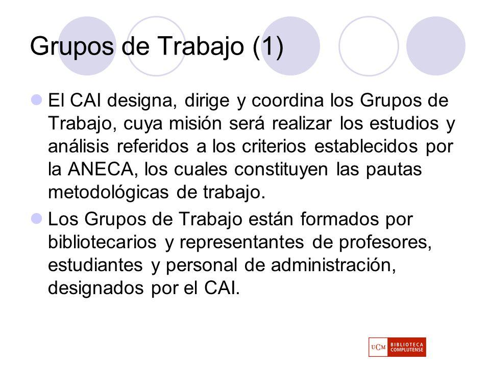 Grupos de Trabajo (1) El CAI designa, dirige y coordina los Grupos de Trabajo, cuya misión será realizar los estudios y análisis referidos a los criterios establecidos por la ANECA, los cuales constituyen las pautas metodológicas de trabajo.