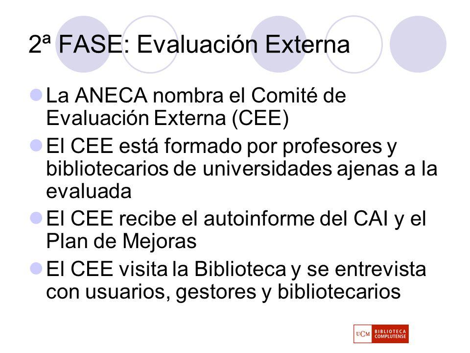 2ª FASE: Evaluación Externa La ANECA nombra el Comité de Evaluación Externa (CEE) El CEE está formado por profesores y bibliotecarios de universidades ajenas a la evaluada El CEE recibe el autoinforme del CAI y el Plan de Mejoras El CEE visita la Biblioteca y se entrevista con usuarios, gestores y bibliotecarios