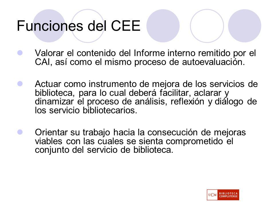 Funciones del CEE Valorar el contenido del Informe interno remitido por el CAI, así como el mismo proceso de autoevaluación.