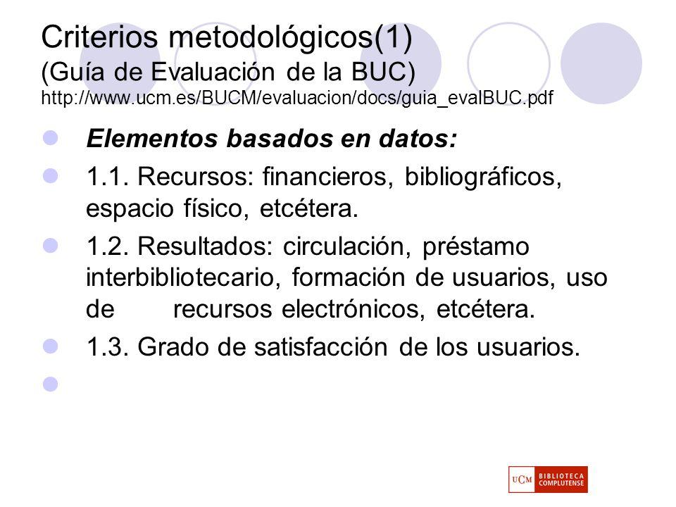 Criterios metodológicos(1) (Guía de Evaluación de la BUC) http://www.ucm.es/BUCM/evaluacion/docs/guia_evalBUC.pdf Elementos basados en datos: 1.1.