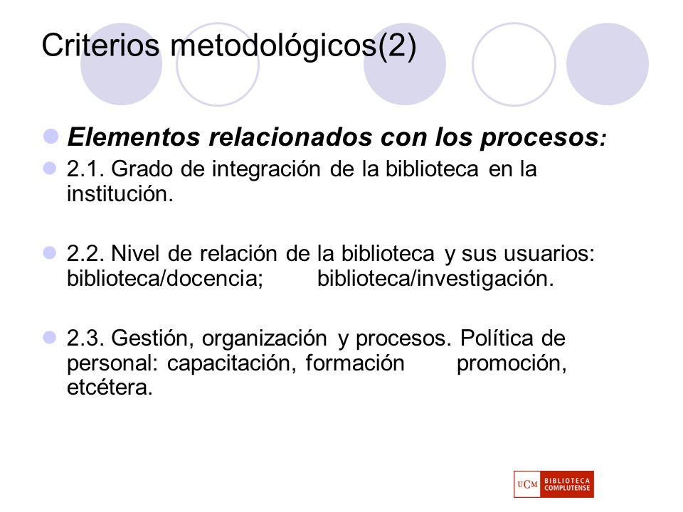 Criterios metodológicos(2) Elementos relacionados con los procesos : 2.1.