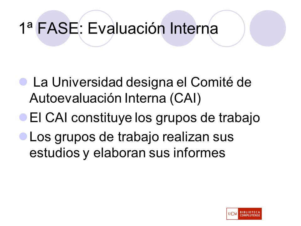 1ª FASE: Evaluación Interna La Universidad designa el Comité de Autoevaluación Interna (CAI) El CAI constituye los grupos de trabajo Los grupos de trabajo realizan sus estudios y elaboran sus informes