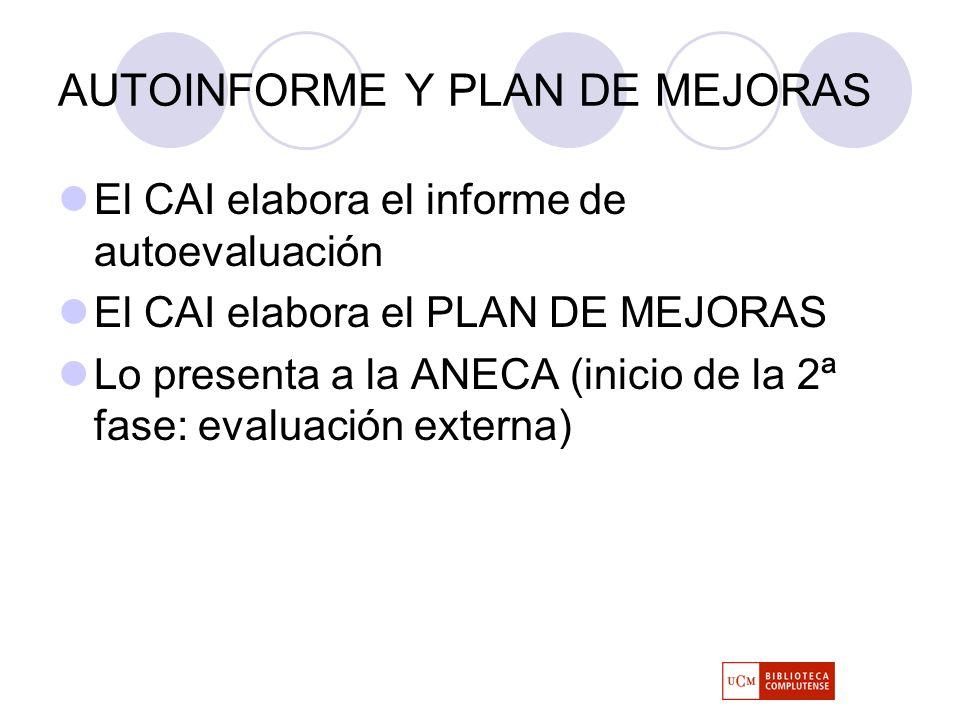 AUTOINFORME Y PLAN DE MEJORAS El CAI elabora el informe de autoevaluación El CAI elabora el PLAN DE MEJORAS Lo presenta a la ANECA (inicio de la 2ª fase: evaluación externa)