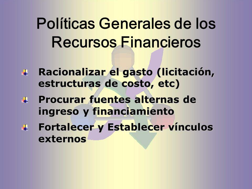 Políticas Generales de los Recursos Financieros Racionalizar el gasto (licitación, estructuras de costo, etc) Procurar fuentes alternas de ingreso y financiamiento Fortalecer y Establecer vínculos externos
