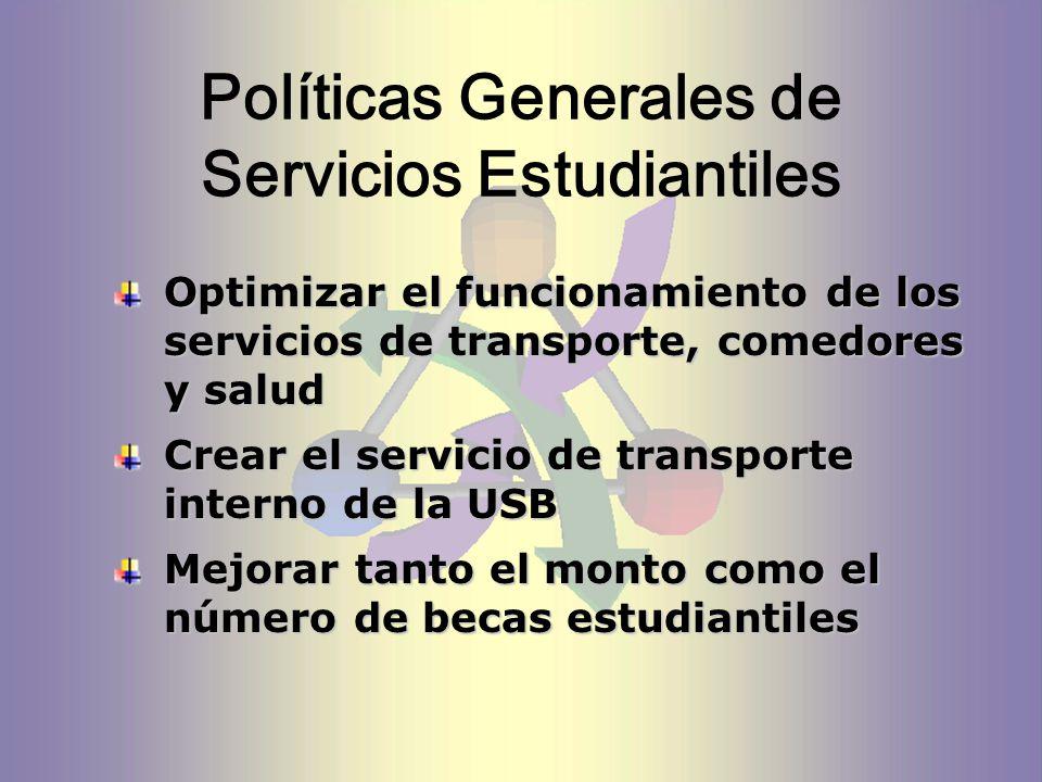 Políticas Generales de Servicios Estudiantiles Optimizar el funcionamiento de los servicios de transporte, comedores y salud Crear el servicio de transporte interno de la USB Mejorar tanto el monto como el número de becas estudiantiles