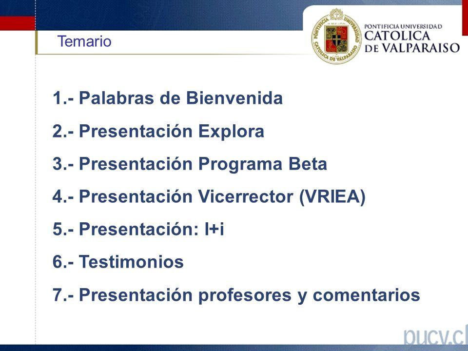 Temario 1.- Palabras de Bienvenida 2.- Presentación Explora 3.- Presentación Programa Beta 4.- Presentación Vicerrector (VRIEA) 5.- Presentación: I+i 6.- Testimonios 7.- Presentación profesores y comentarios