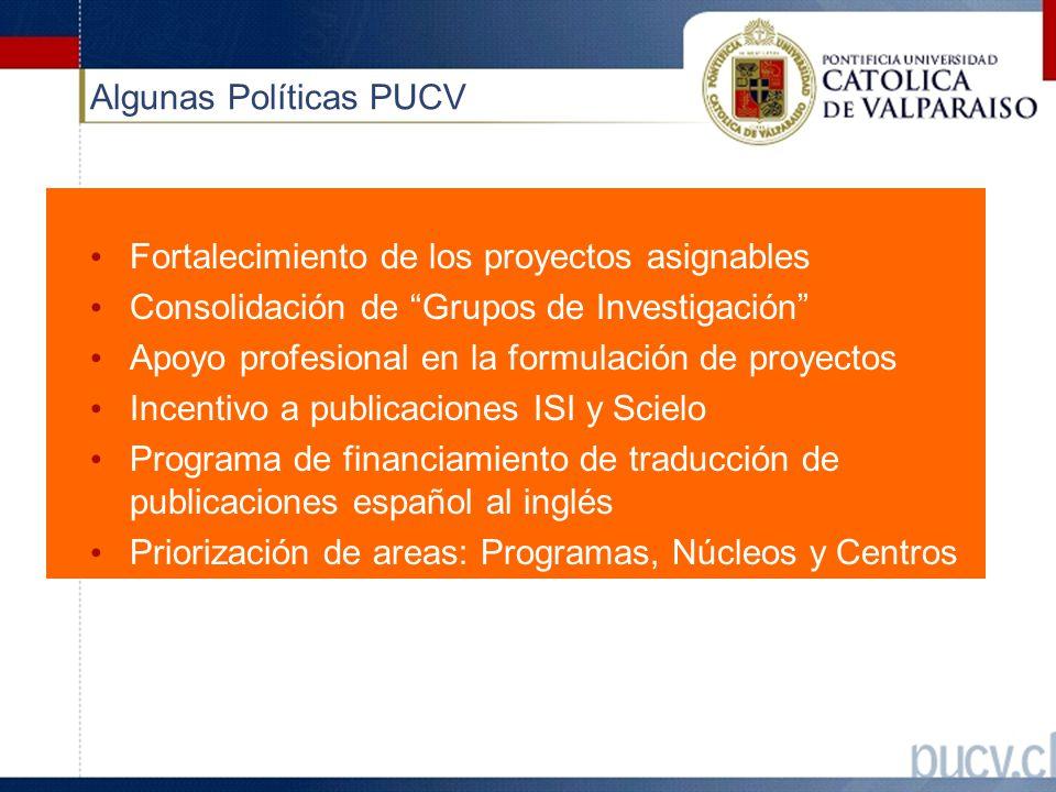 Algunas Políticas PUCV Fortalecimiento de los proyectos asignables Consolidación de Grupos de Investigación Apoyo profesional en la formulación de proyectos Incentivo a publicaciones ISI y Scielo Programa de financiamiento de traducción de publicaciones español al inglés Priorización de areas: Programas, Núcleos y Centros de Investigación