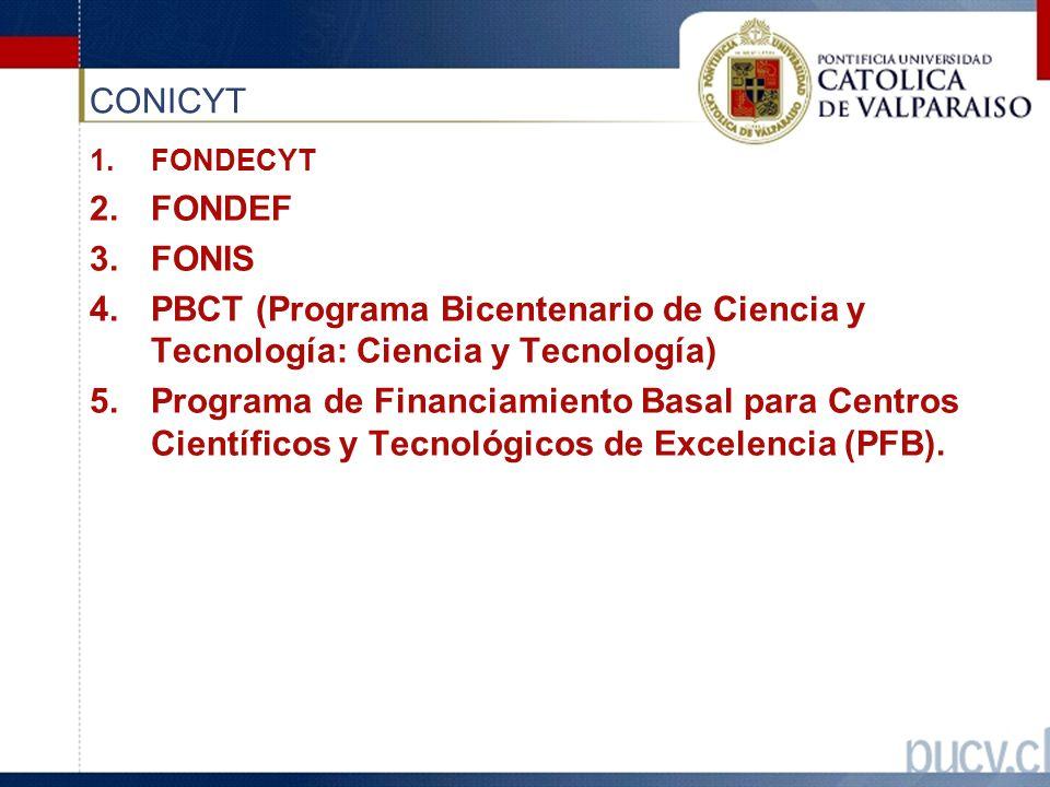 CONICYT 1.FONDECYT 2.FONDEF 3.FONIS 4.PBCT (Programa Bicentenario de Ciencia y Tecnología: Ciencia y Tecnología) 5.Programa de Financiamiento Basal para Centros Científicos y Tecnológicos de Excelencia (PFB).
