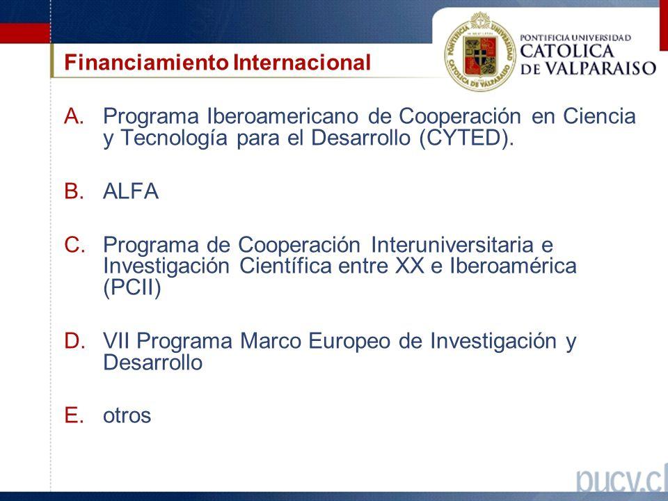 Financiamiento Internacional A.Programa Iberoamericano de Cooperación en Ciencia y Tecnología para el Desarrollo (CYTED).