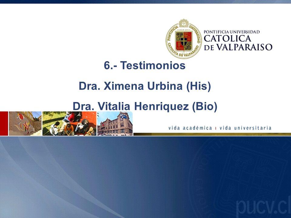 6.- Testimonios Dra. Ximena Urbina (His) Dra. Vitalia Henriquez (Bio)