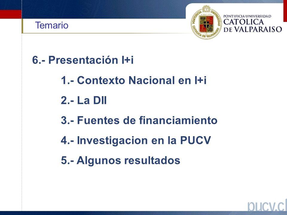 Temario 6.- Presentación I+i 1.- Contexto Nacional en I+i 2.- La DII 3.- Fuentes de financiamiento 4.- Investigacion en la PUCV 5.- Algunos resultados