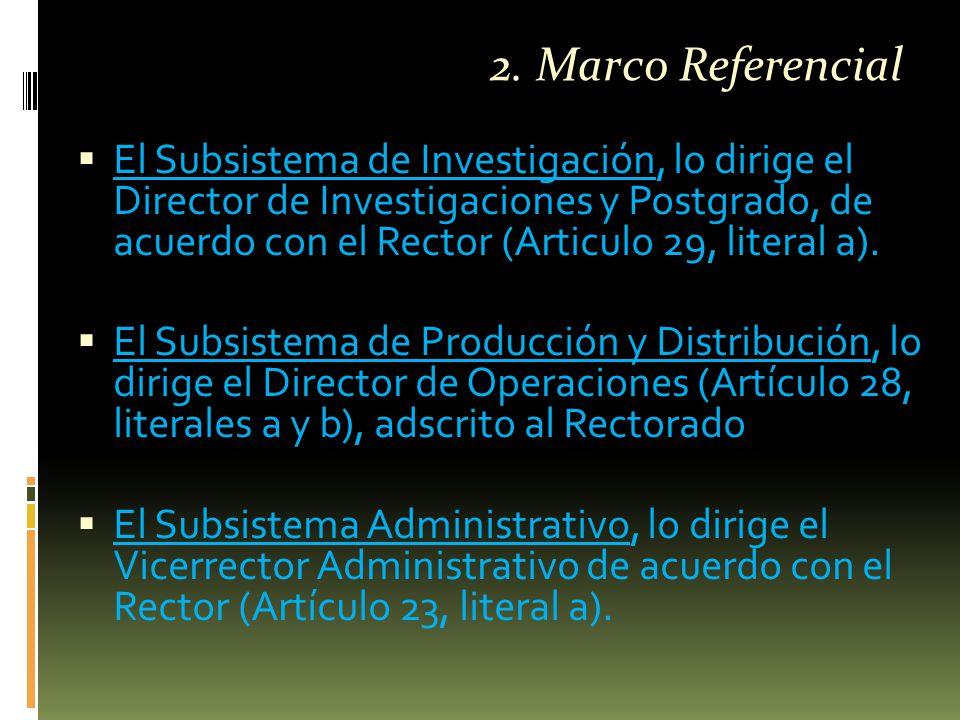  El Subsistema de Investigación, lo dirige el Director de Investigaciones y Postgrado, de acuerdo con el Rector (Articulo 29, literal a).