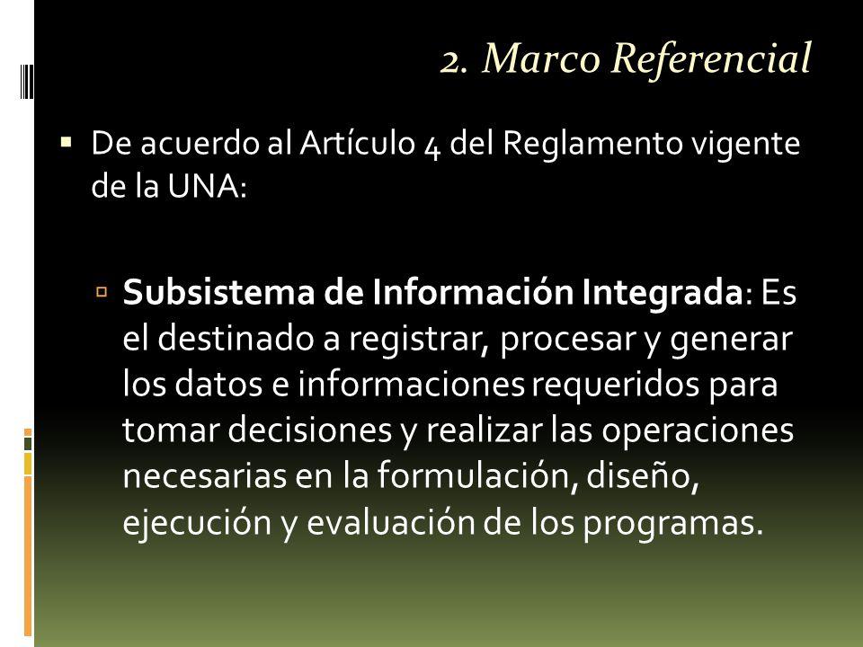  De acuerdo al Artículo 4 del Reglamento vigente de la UNA:  Subsistema de Información Integrada: Es el destinado a registrar, procesar y generar los datos e informaciones requeridos para tomar decisiones y realizar las operaciones necesarias en la formulación, diseño, ejecución y evaluación de los programas.