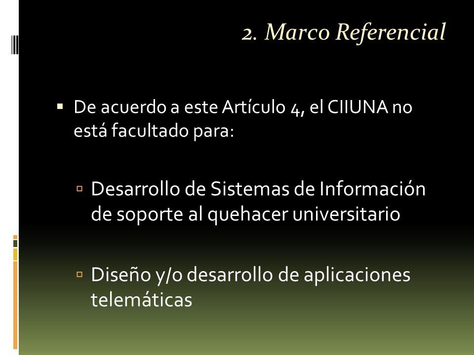  De acuerdo a este Artículo 4, el CIIUNA no está facultado para:  Desarrollo de Sistemas de Información de soporte al quehacer universitario  Diseño y/o desarrollo de aplicaciones telemáticas 2.