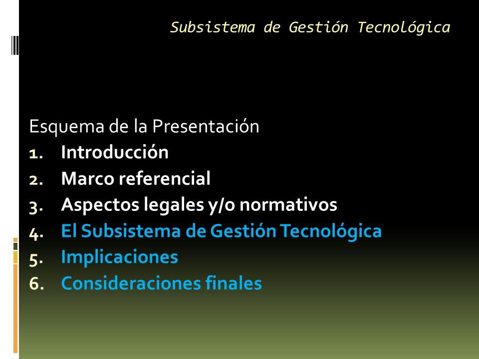 Subsistema de Gestión Tecnológica Esquema de la Presentación 1.