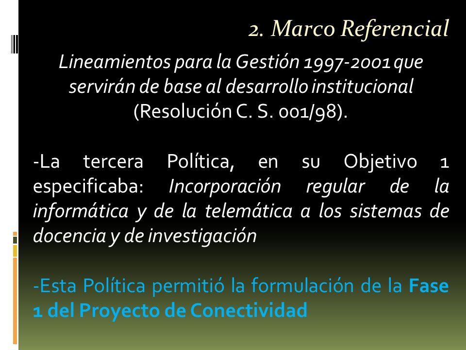 Lineamientos para la Gestión 1997-2001 que servirán de base al desarrollo institucional (Resolución C.